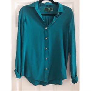 C Wonder Emerald Green 100% Silk Blouse Size XS